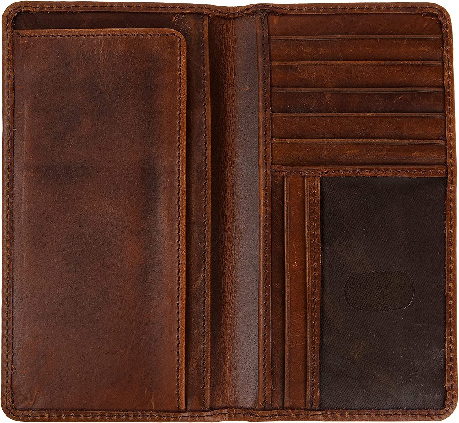 Bifold Top Grain Leather Long Rodeo Wallet Checkbook Card Case Holder For Men