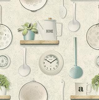 Kitchen Utensils Vinyl Wallpaper Cream Rasch 307108