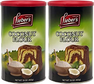Lieber's Coconut Flour, Kosher For Passover, 16 Ounce Canister (Pack of 2, Total of 32 Oz)