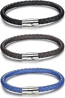 FIBO STEEL 2-3PCS Stainless Steel Braided Leather Bracelet for Men Women Wrist Cuff..
