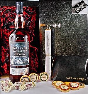 Geschenk Talisker Dark Storm Single Malt Whisky  Glaskugelportionierer  Edelschokolade  Fudge