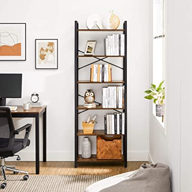 VASAGLE 6-Tier Bookshelf, Home Office Bookcase, Storage Rack with Steel Frame, for Living Room, Office, Study, Hallway, 73.2