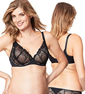 Cake Maternity Women's Maternity and Nursing Truffles Flexi Wire Moulded Cup Plunge Lace Bra, Black, 36C UK/ 36C US