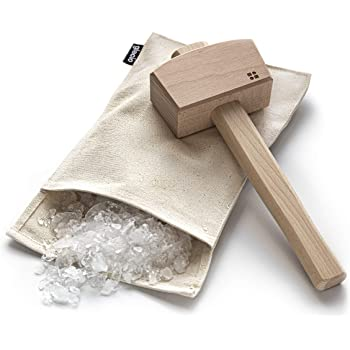 glacio Ice Mallet and Lewis Bag - Wood Hammer and Canvas Bag for Crushed Ice