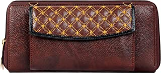 The Clownfish Diamond Womens Wallet with Front Mobile Pocket (Dark Brown)