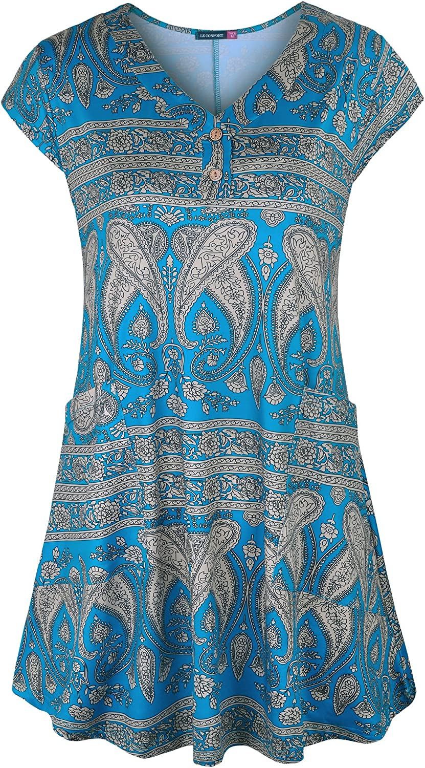 Le Vonfort Women's Short Sleeve V Neck Button up Flowy Casual Tunic Top with Pockets