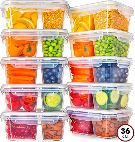 Fullstar Food Storage Containers with Lids - Divided Lunch Containers (36 Ounce, 10 Pack) Plastic Food Containers with Lids Meal Prep Containers 2 Compartment Plastic Containers with Lids