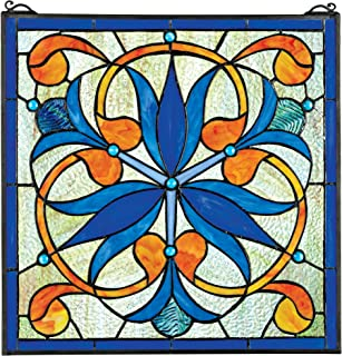 Stained Glass Panel - Mokara Orchid Trefoil Floral Stained Glass Window Hangings - Window Treatments