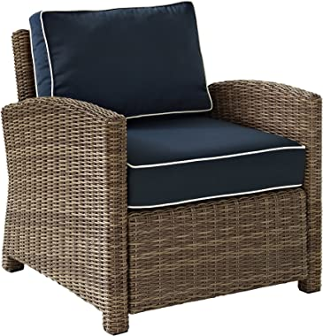 Crosley Furniture Bradenton Outdoor Wicker Arm Chair with Cushions - Navy