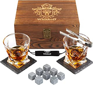 Whiskey Glass Set of 2 – Bourbon Whiskey Stones Gift Set – Rocks Whisky..
