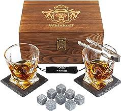 Whiskey Glass Set of 2 - Bourbon Whiskey Stones Gift Set - Rocks Whisky Chilling Stones - Scotch Glassess Gift in Wooden B...