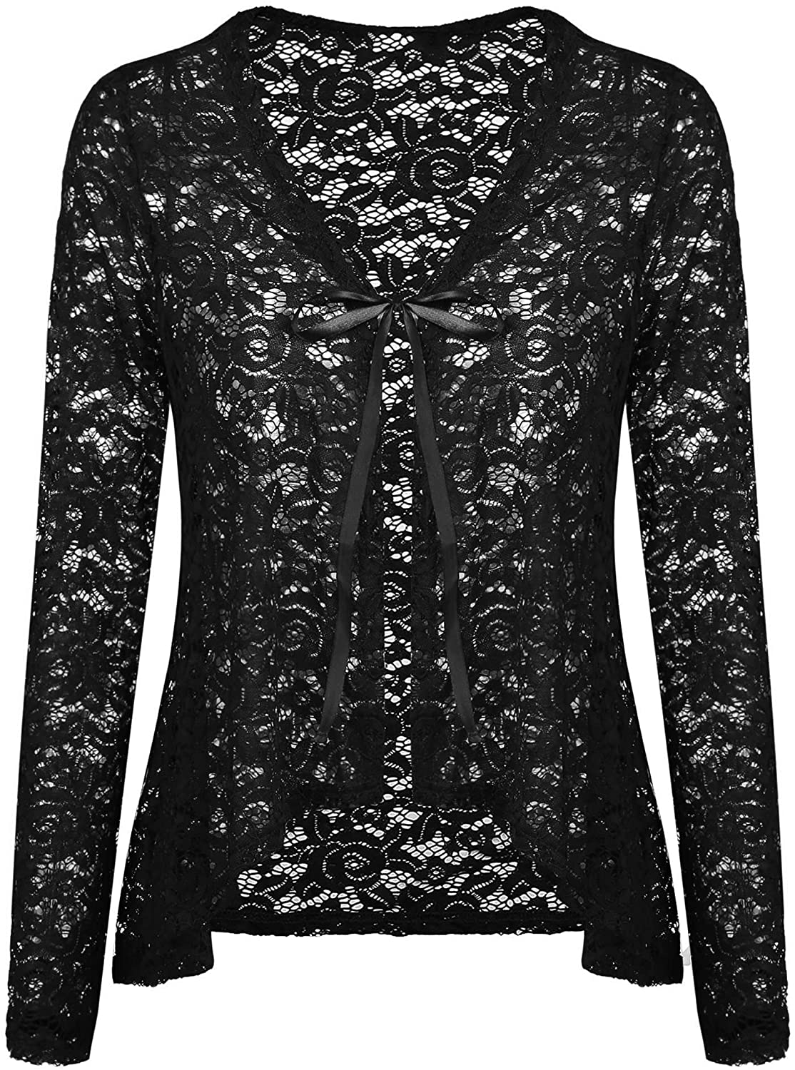 Concep Women's Lace Cardigans Long Sleeve Open Front Assymetrical Cover Up Jacket S-XXL