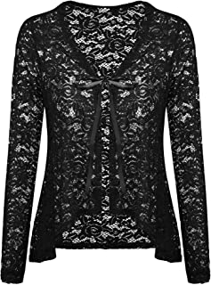 Women's Lace Cardigans Long Sleeve Open Front Assymetrical Cover Up Jacket S-XXL