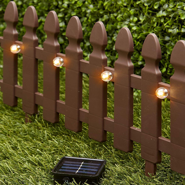Amazon Com The Lakeside Collection 6 Ft Solar Border Fence Panel Garden Landscape Edging Stake Brown Garden Outdoor