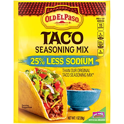 Old El Paso Taco Seasoning Mix, 25% Less Sodium, 1 oz Packet