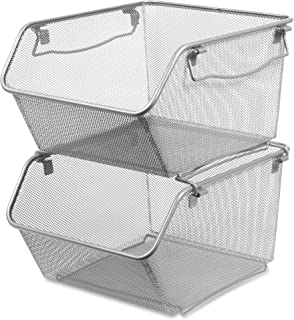 "Lorell Mesh Stacking Desktop Storage Bin, 8.8"" x 15.3"" x 12.6"", Silver, 2"