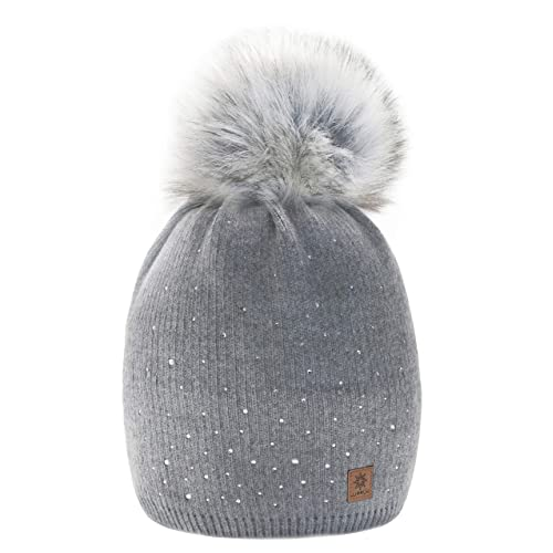 Women Ladies Winter Beanie Hat Wool Knitted with Small Crystals Large Fur Pom  Pom Cap SKI 7ba9d42b799