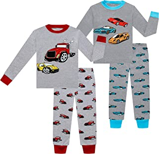 Benaive Pajamas for Boys, Pjs for Boy Cotton Pajama, 4-Piece Children Pants Set