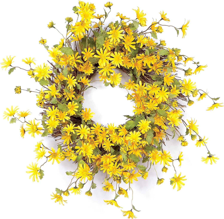 Melpink International Daisy Polyester Wreath Wispy Yellow