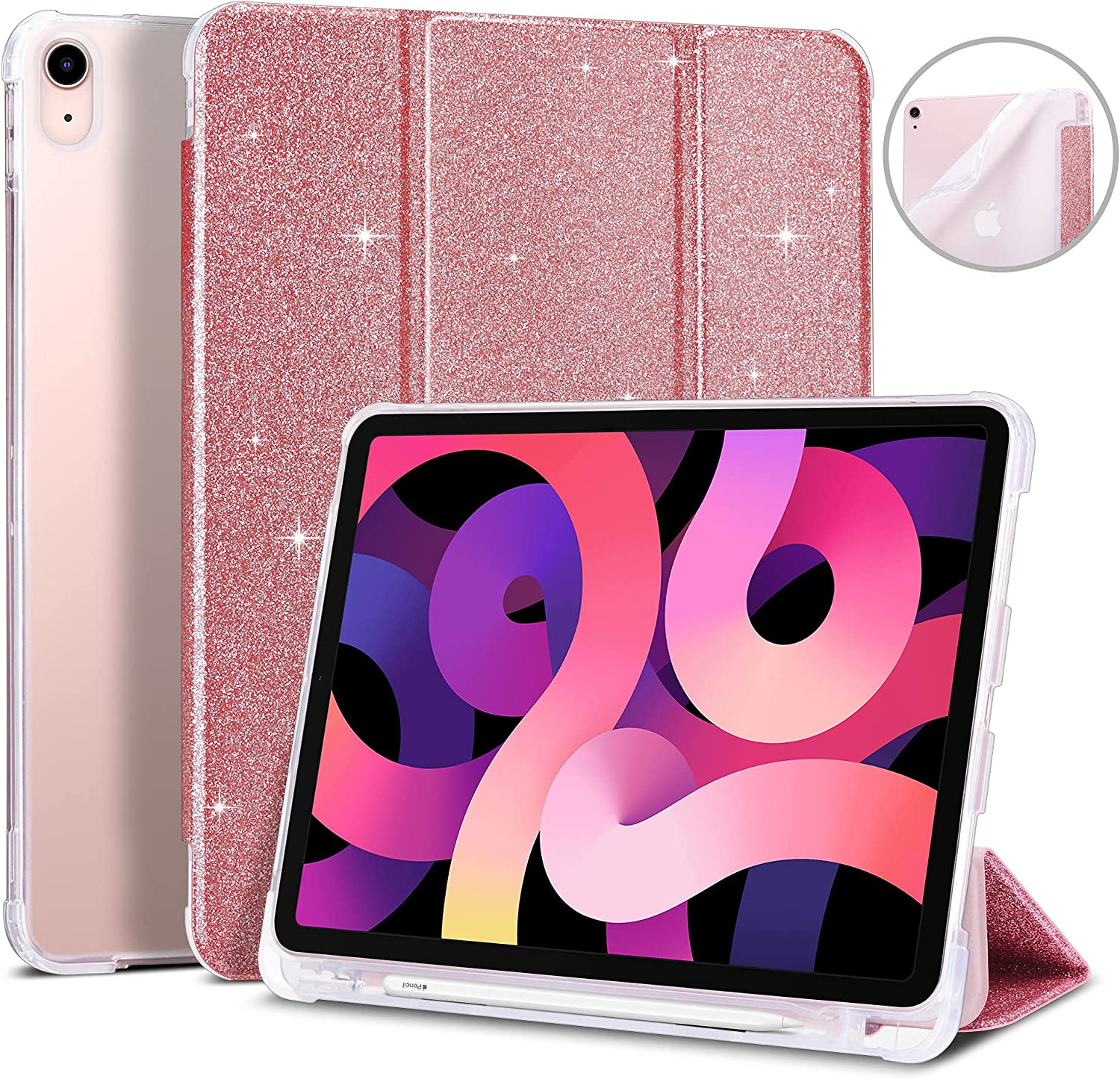 ULAK Compatible with iPad Air 4 2020 Case with Pencil Holder, Bling Sparkly Trifold Stand Smart Cover with Auto Sleep/Wake Premium Shockproof Cover for iPad Air 10.9 inch 4th Generation, Glitter Pink