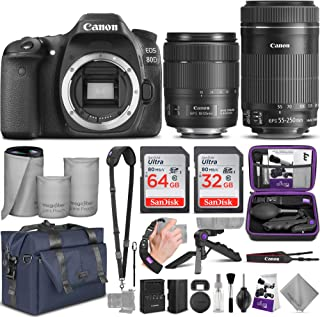 Canon EOS 80D DSLR Camera and Canon EF-S 18-135mm f/3.5-5.6 is USM + EF-S 55-250mm f/4-5.6 is STM Lens with Altura Photo Complete Accessory and Travel Bundle