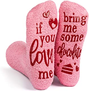 If You Love Me Bring Me - Pink Fuzzy Novelty Socks - Gift for Women - by Lavley