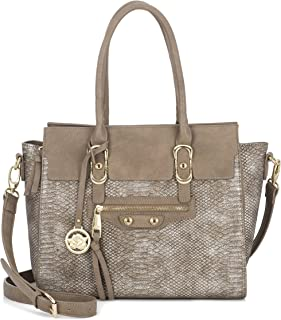 Women's Handbag Snakeskin Faux Leather Gold Metal Accents Large Tote