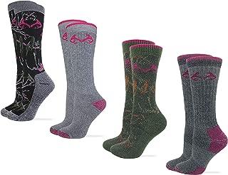 Womens Full Cushion Merino Wool Camo Pattern Crew Socks 4 Pair Pack