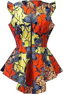 Aikaplus Women African Wax Print Shirt Ankara Traditional Top