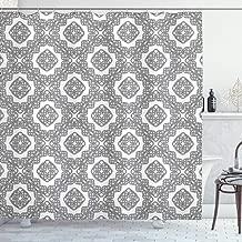 Ambesonne Celtic Shower Curtain, Vintage Geometric Diagonal Symmetrical Binding Celtic Knots Motifs Illustration, Cloth Fabric Bathroom Decor Set with Hooks, 70 Long, Black and White
