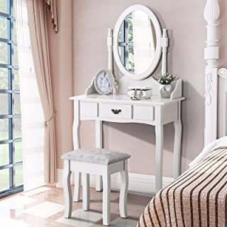 Mecor Vanity Table Set with Drawer,Makeup Dressing Table w/Cushioned Stool,Girls Women Bedroom Furniture Set Oval Mirror White