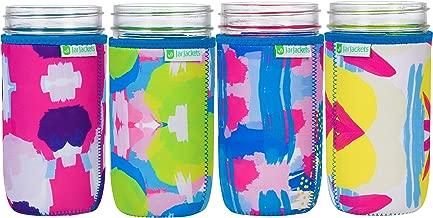 JarJackets Neoprene Mason Jar Protector Sleeve - Fits 24oz (1.5 pint) Jars (4, Multicolor)