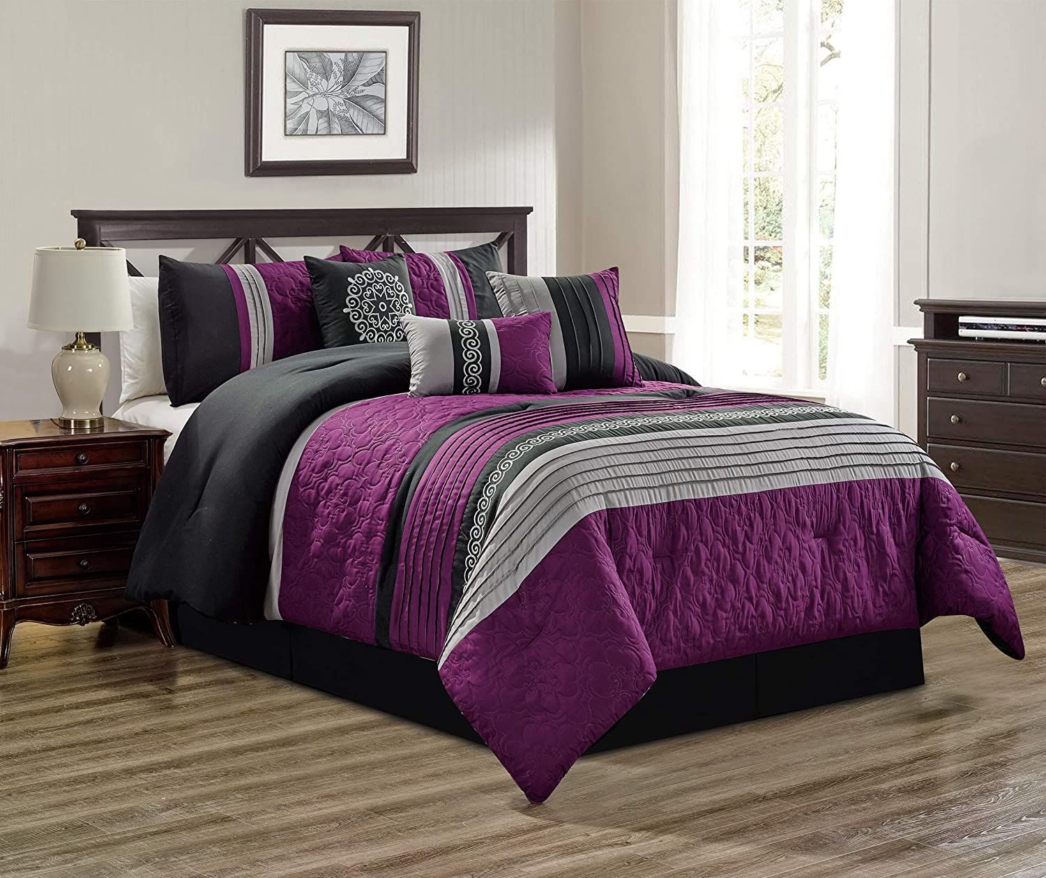 Amazon Com 7 Piece Purple Grey Black Gray Scroll Embroidery Bed In A Bag Microfiber Comforter Set Double Full Size Bedding Perfect For Any Bed Room Or Guest Room Home Kitchen
