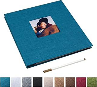 Self Adhesive Photo Album Magnetic Scrapbook Album 40 Magnetic Double Sided Pages Linen Hardcover DIY Photo Album Length 11 x Width 10.6 (Inches) with A Metallic Marker Pen (Blue)