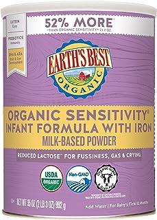 Earth's Best Omega-3 DHA & Omega-6 ARA低乳糖敏感型含铁婴儿奶粉 35盎司(992g)