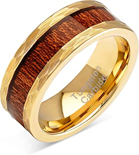 100S JEWELRY Tungsten Rings for Men Gold Wedding Band Hammered Forged Wood Inlaid Sizes 8-15