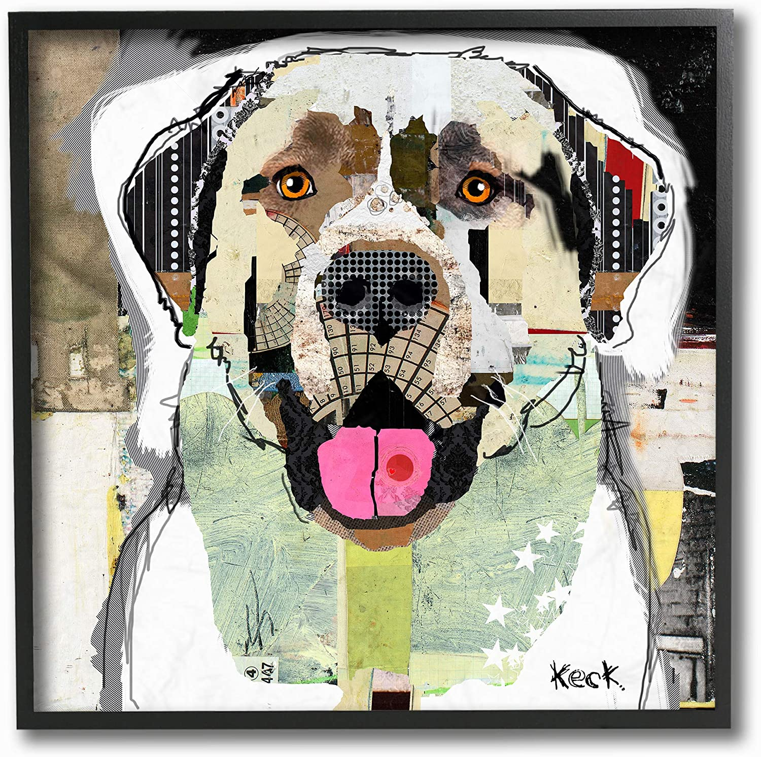 The Stupell Home Decor Paint Splatter color Block Anatolian Shepherd Portrait Framed Giclee Texturized Art, 12 X 12 Multi