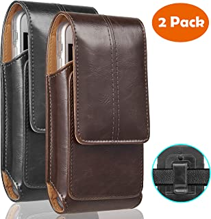 iNNEXT 2 Pack iPhone 8 Plus Pouch Case, Real Leather Vertical Holster Belt Clip Carrying Case Pouch with Magnetic Closure for iPhone 7 Plus/iPhone 6S Plus 5.5 inch Note 8 (Black & Brown)