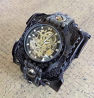 Skeleton Leather Watch, Steampunk Watch Cuff, Men's watch, Leather Wrist Watch, Leather Cuff, Bracelet Watch, Distressed watch strap