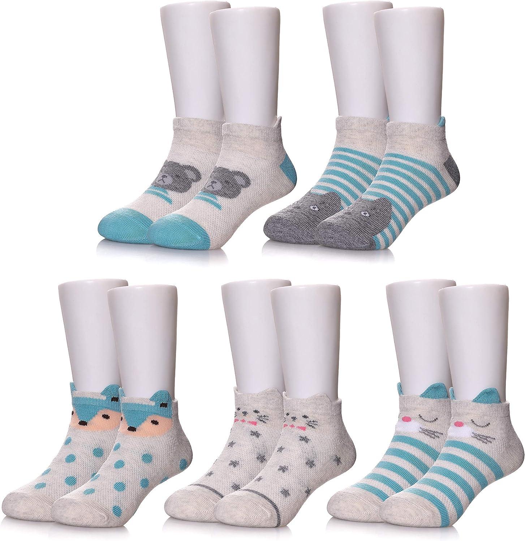 POEATEZO Kids Athletic Low-Cut Ankle Socks Boys Girls Fashion Cotton Crew Socks 5 Pairs