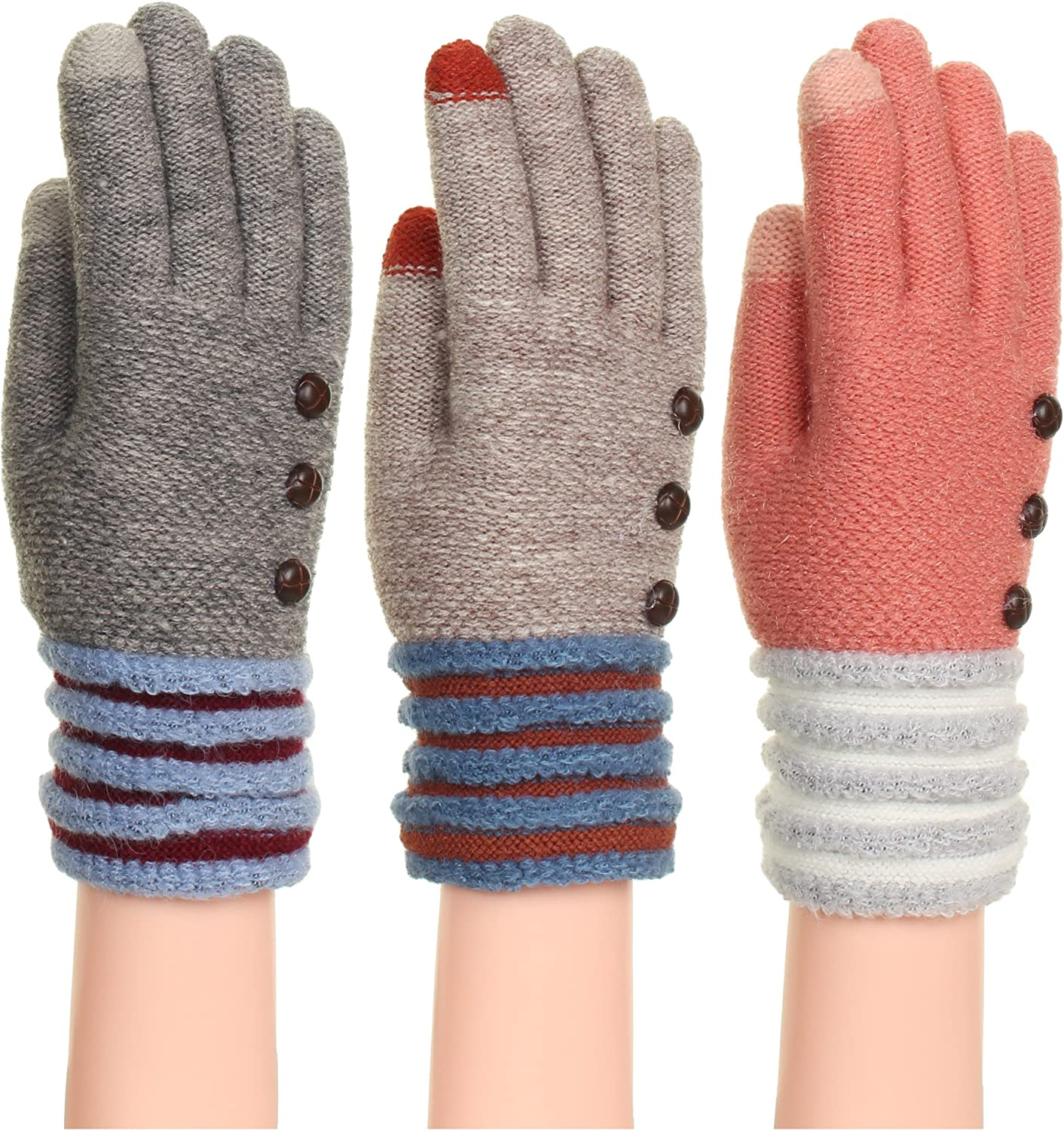 Women's Soft And Warm Fuzzy Interior Lined Gloves With Touchscreen Technology