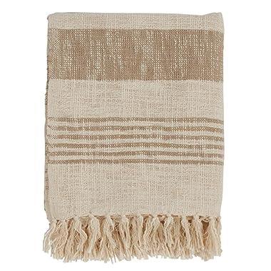 SARO LIFESTYLE Sevan Collection Striped Cotton Throw with Tasseled Trim, Natural