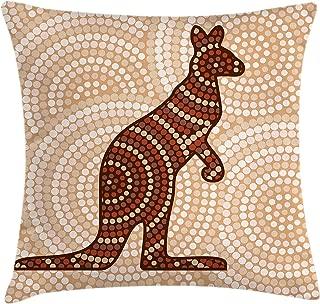 Ambesonne Tropical Animals Throw Pillow Cushion Cover, Aboriginal Kangaroo Motif Cream Toned Circling Dot Design, Decorative Square Accent Pillow Case, 16