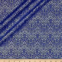 QT Fabrics Basics Luminous Lace Chevron Brocade Blender Metallic Royal