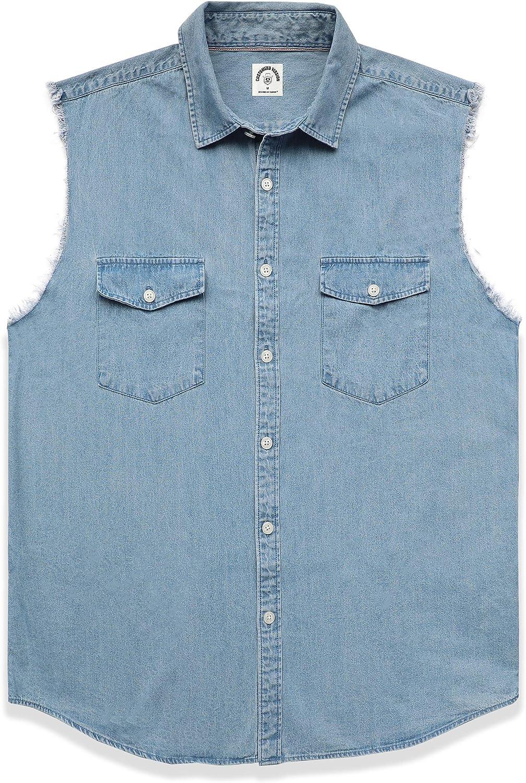 Dubinik® Chaleco de Mezclilla sin Mangas para Hombre, Camisa, Jeans, Chaleco de Motorista, Vaquero con Botones