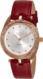 Burgi Women's Diamond & Crystal Accented Swirl Design Leather Strap Watch - BUR122