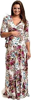PinkBlush Maternity Floral Draped Maternity/Nursing Maxi Dress