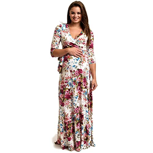 39aba45495d PinkBlush Maternity Floral Draped 3 4 Sleeve Maxi Dress