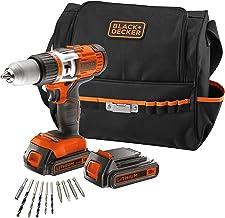 Black+Decker EGBHP188BSA-QW– Kit:Taladro percutor 18V con 2 baterías, 2,0Ah Litio + 10 accesorios y bolsa de transporte
