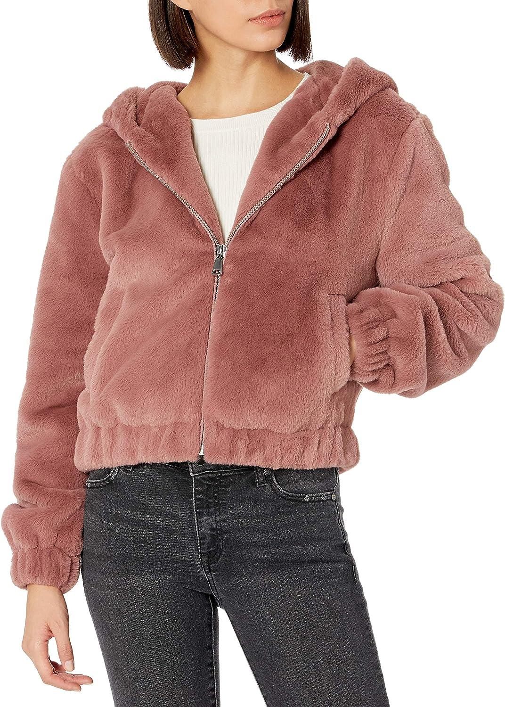 The Drop Women's Sloane Faux Fur Zip Front Hooded Bomber Jacket